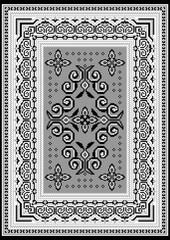 Vintage rug with an ethnic black and white pattern on the grey in the middle and on the white on the sides