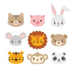 Set of vector animal faces. Illustrations of cute animal heads. Smiling animals. Children cartoons. Lion, tiger, cat, rabbit, mouse, monkey, panda, bear, pig.