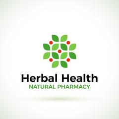 Natural Pharmacy vector logo design template