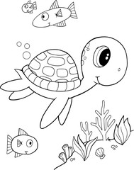 Stores photo Cartoon draw Cute Sea Turtle Vector Coloring Page