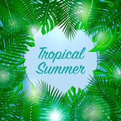 Tropical summer background. Season vacation, weekend. Vector Illustration.
