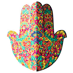 Hamsa hand drawn symbol. Fatimas hand pattern. Vector illustration. Indian mandala ornament for adult coloring books. Asian pattern. Colorful authentic background.