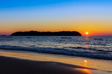 sunset on Ngapali Beach near Thandwe at Rakhine state in Myanmar (Burma)