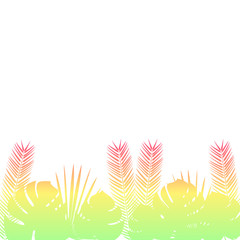 Palm leaves Vector illustration Poster template with silhouette of palm leaves in gradient colors on white background