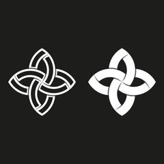 Sacred geometric logo, black and white overlapping paper stripes, hipster graphic design element template. Weaving symmetry geometric shape meditation symbol. Feminine emblem