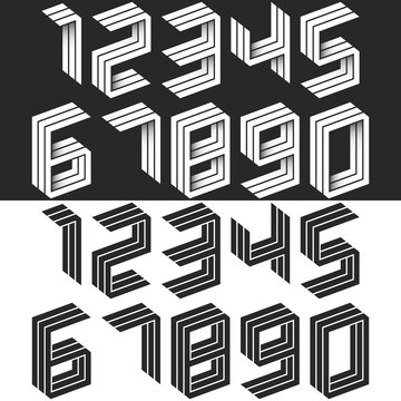 Numbers set isometric geometric shape, black and white creative idea hipster monogram digits form in the perspective. Collection of figures. Mathematical symbols 1, 2, 3, 4, 5, 6, 7, 8, 9, 0