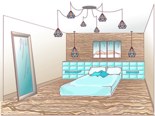 Loft bedroom blue