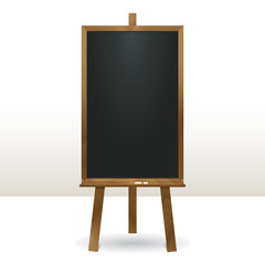 Standing menu chalk board.Vertical empty easel in wooden frame.Use for business and educational presentation. Isolated vector illustration.