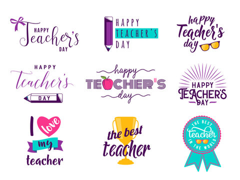 Vector illustration of happy teachers day lettering typography word text set