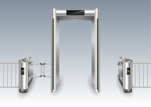Portal frame metal detector controls and metal turnstiles for the airport or customs. Vector graphics