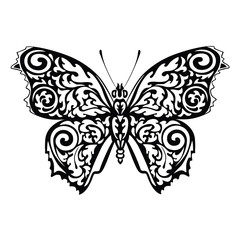 Black silhouette of butterfly with ornamental pattern.