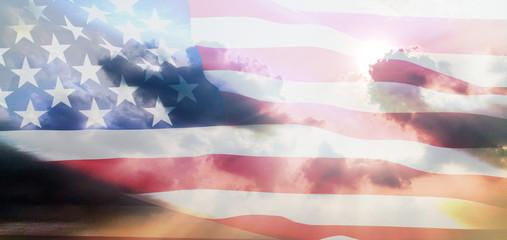 U.S flag against sunlight background
