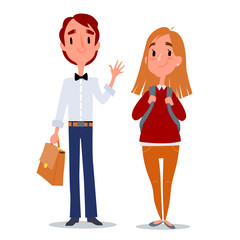 Back to school. Teenagers boy and girl. High school students with school bags. Isolated vector illustration on white