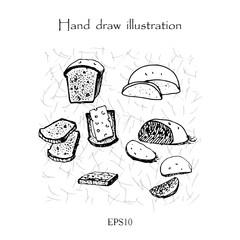 Bread set hand drawing monochrome illustration
