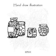 Watermelon hand drawing linear illustration