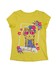 Yellow baby t-shirt with an inscription, isolate