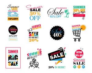 Set of Summer Sale template banners, logos, labels and stickers.