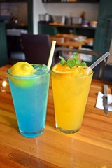 Blue lemonade and orange aide