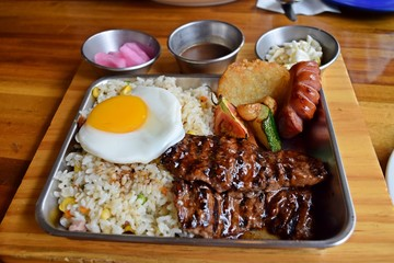 Fried rice and beef steak