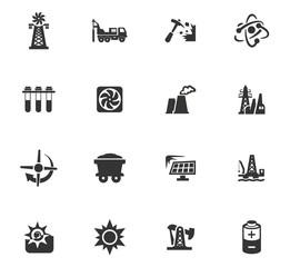 Fuel Power generation icons set