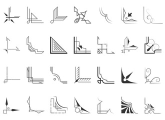 Set of 28 corners and design elements