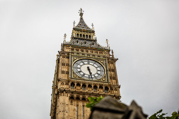View of the Big Ben tower in London on a cloudy day, London, UK
