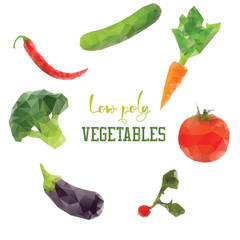 Carrot, broccoli, pepper, tomato. Diet vegan low poly vegetables