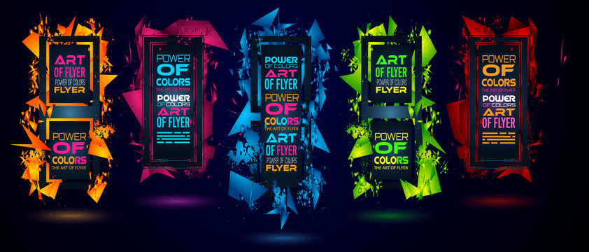 Futuristic Frame Art Design with Abstract shapes and drops of colors behind the space