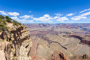 Grand Canyon -  Mather Point view to Grand Canyon National Park - travel destination in  Grand Canyon Village, Arizona - United States of America- beautiful rock formations