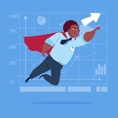 African American Businessman Super Hero Fly Up Financial Graph Arrow Flat Vector Illustration