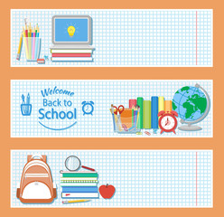Set of three horizontal banners with school supplies as books, laptop, backpack, pencils, alarm clock, globe, stationery set,, magnifying glass. Welcome back to school logo. Education concept. Vector.