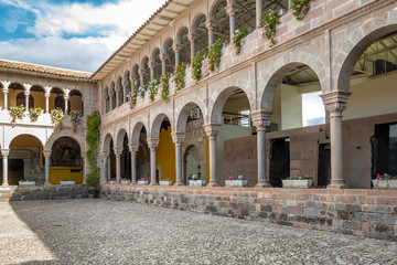 Poster South America Country Convent of Santo Domingo Courtyard at Qoricancha Inca Ruins - Cusco, Peru