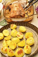 Delicious roast pork loin with plum for christmas dinner.