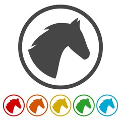 Vector illustration of horse head icons set
