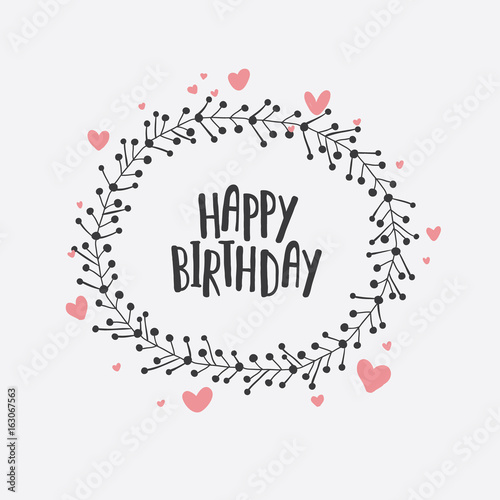 Happy Birthday Card Hand Drawn Birthday Greeting Card Invitation
