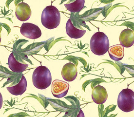 Hand-drawn watercolor seamless pattern with passion fruits branches on the white background. Repeated fruit background.
