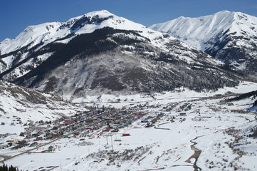 Colorado Mountain Town: New spring snow covers the San Juan Mountains surrounding Silverton, Colorado.