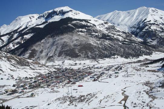 Colorado Mountain Town: New spring snow covers the San Juan Mountains surrounding Silverton, Colorado.