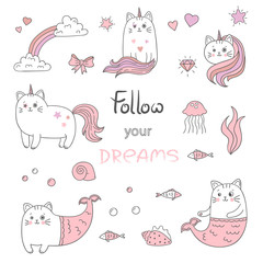 Set of cute cats mermaids and cats unicorns. Vector collection of trendy stickers, patches in pink and white colors.