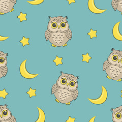 Seamless night pattern with cute owls, stars and moon. Vector good night background. Baby print.