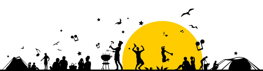 Silhouette Picknick und Musik
