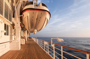 Safety lifeboat on a luxury cruise ship.