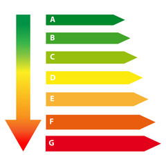 Energy labels with arrow isolated on white background. Vector illustartion.