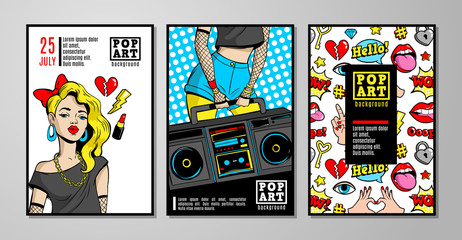 Vector cards and banners in 80s-90s pop-art comic style.