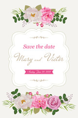 Wedding invitation cards with flower. Beautiful  white and pink peonies and rose. (Use for Boarding Pass, invitations, thank you card.) Vector illustration. EPS 10