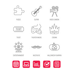 Puzzle, guitar music and theater masks icons. Ticket, video camera and crown linear signs. Entertainment, halloween pumpkin and mustache icons. Report document, Graph chart and Calendar signs. Vector