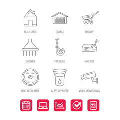 Real estate, garage and heat regulator icons. Trolley, fire hose and mailbox linear signs. Shower, glass of water and video monitoring icons. Report document, Graph chart and Calendar signs. Vector