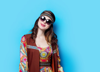 Portrait of Young hippie girl with sunglasses