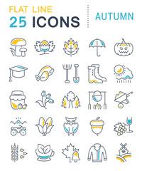 Set Vector Flat Line Icons Autumn