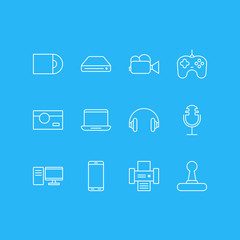 Vector Illustration Of 12 Device Icons. Editable Pack Of Joypad, Dvd Drive, Memory Storage And Other Elements.